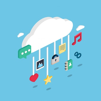 Isometric technological icons on a cloud