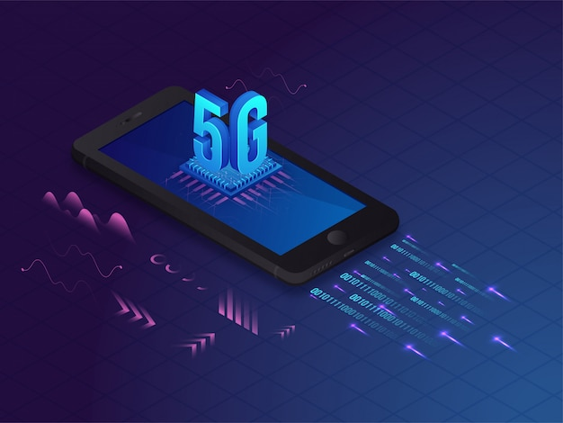 Isometric technology. 5g launching concept.