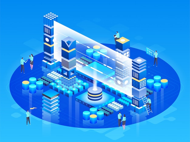 Isometric technology concept. database network management. big data processing, energy station of future. it technician turning server. cloud service. digital information. illustration