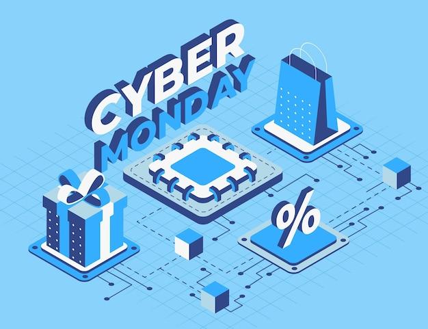 Fondo di cyber lunedì di tecnologia isometrica