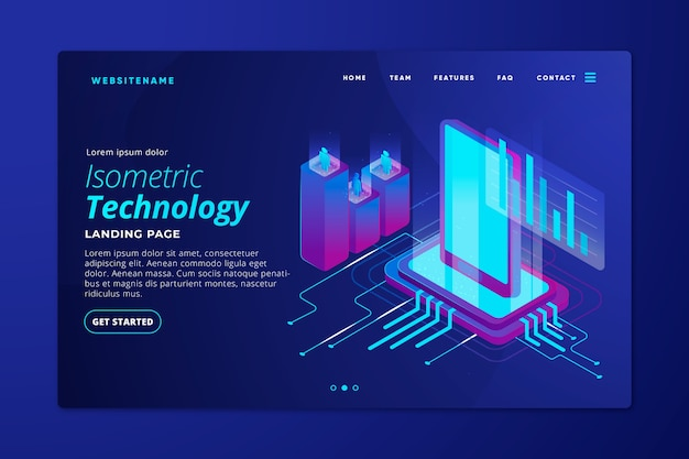 Isometric technology landing page template