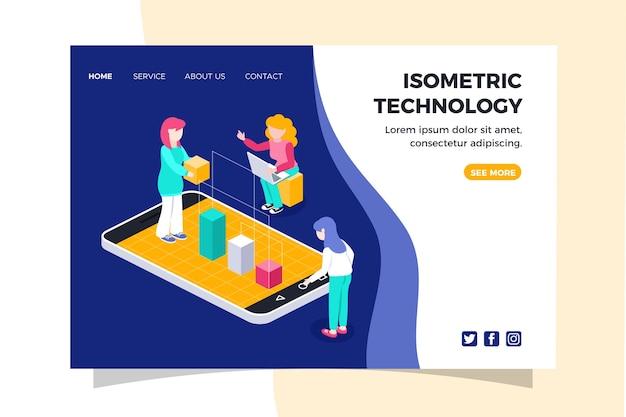 Modello di pagina di destinazione tecnologia isometrica