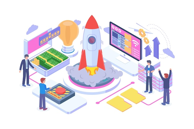 Isometric technology startup launch concept