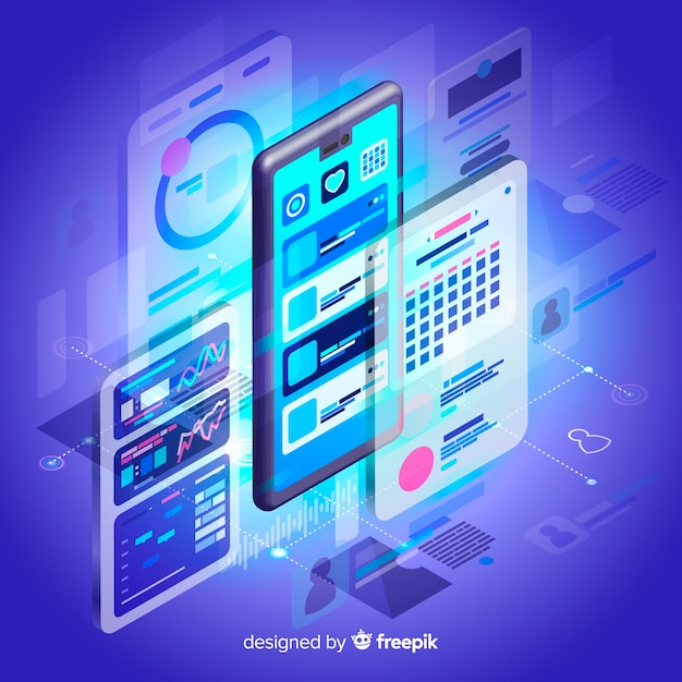Free Isometric tecnology abstract background SVG DXF EPS PNG