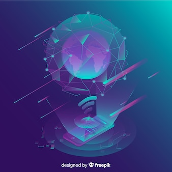 Isometric tecnology abstract background