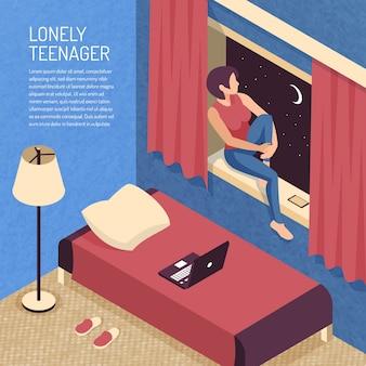 国内の寝室のインテリアと土台の上に座っている10代の少女のビューと等尺性ティーンエイジャー組成