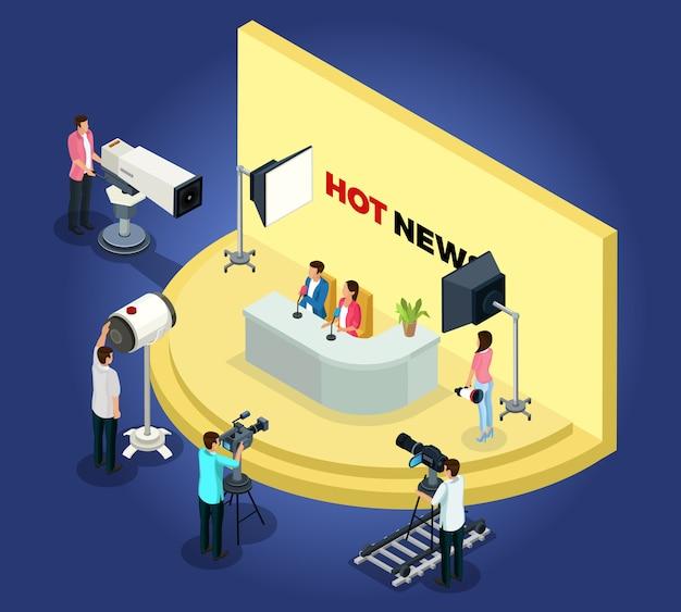 Il concetto isometrico di videoregistrazione televisiva con diversi lavoratori spara notizie utilizzando le telecamere