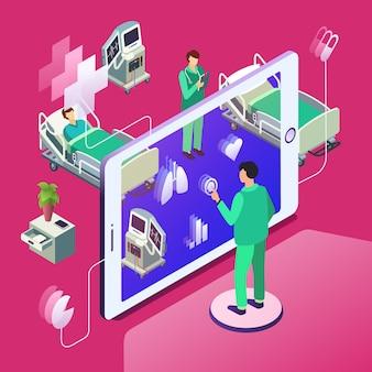 Isometric telemedicine, online medicine healthcare technology concept.