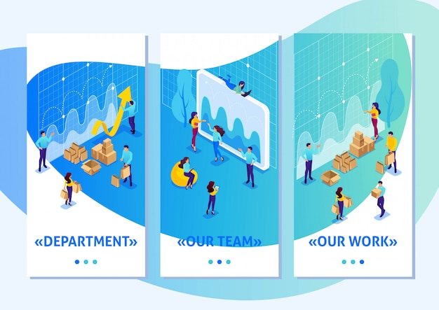 Isometric template app bright concept digital procurement, marketing research, teamwork, smartphone apps. easy to edit and customize