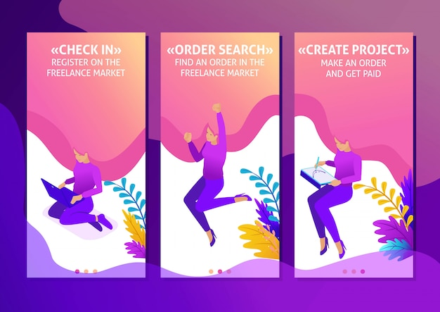 Isometric template app bright concept freelancer works remotely. place an order and get paid, smartphone apps. easy to edit and customize