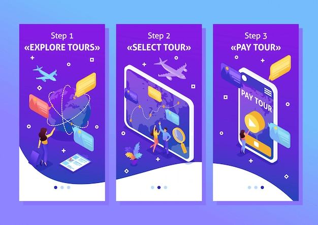 Isometric template app bright concept tourists look at the globe and choose the direction to relax, smartphone apps. easy to edit and customize