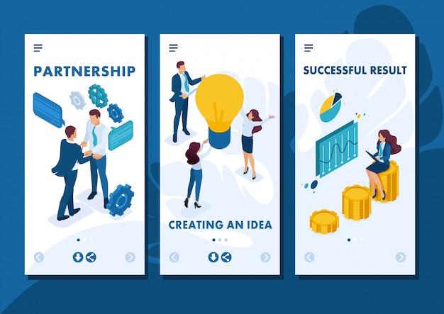 Изометрические шаблон приложения бизнес-концепция совместной работы для создания решения, приложений для смартфонов