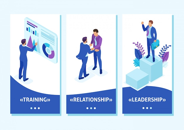 Изометрические шаблоны приложений бизнесмен на вершине мира, предприниматели борются за лидерство, приложения для смартфонов