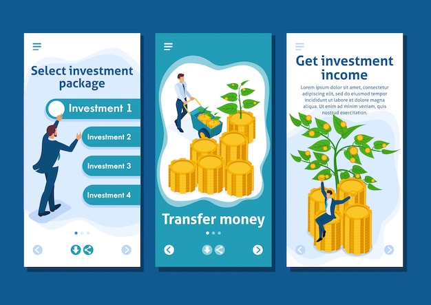 Isometric template app businessmen invest money and help them grow and make a profit, smartphone apps