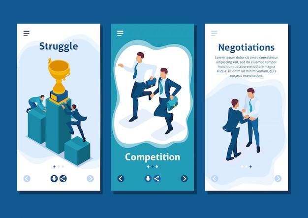 우수성, 성공적인 리더, 스마트 폰 앱의 받침대에있는 아이소 메트릭 템플릿 앱 기업인