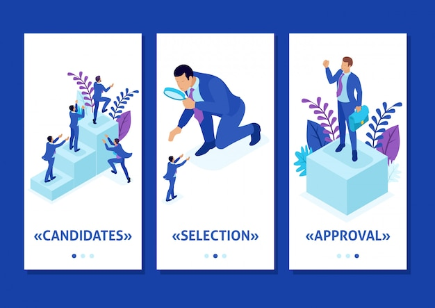 Isometric template app competitive struggle for career growth, businessman looks at candidates through a magnifying glass, smartphone apps