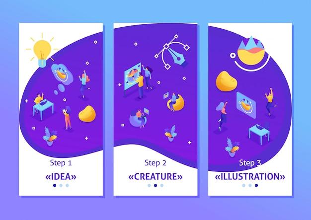 Изометрические шаблоны приложений создания идей, сотрудники разрабатывают. совместная работа творческих людей, приложений для смартфонов. легко редактировать и настраивать