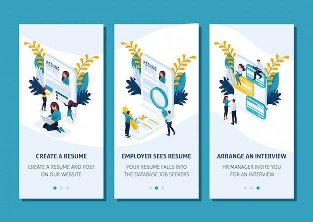 Isometric template app design concept stages of job search through smartphone apps. easy to edit and customize