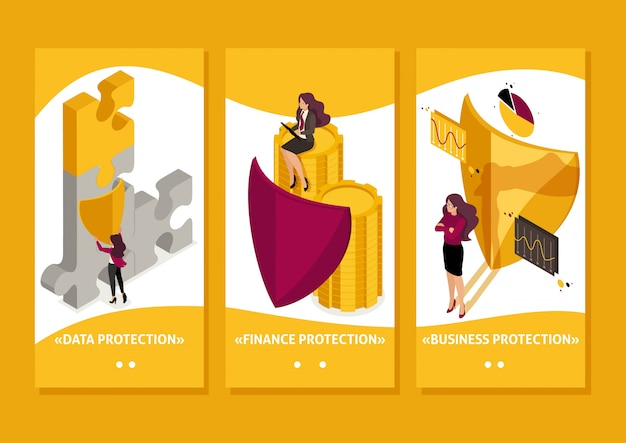 Isometric template app how to ensure full safety of your business, lawyer girl, smartphone apps