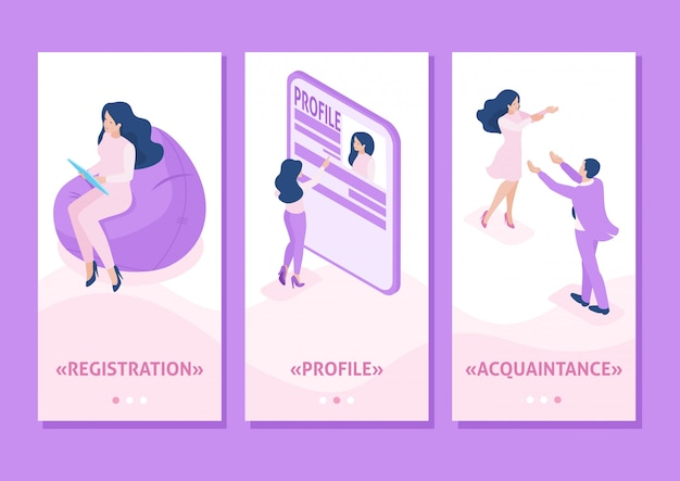 Isometric template app isometric template app acquaintance, love, meeting, people connect parts of a big heart, smartphone apps