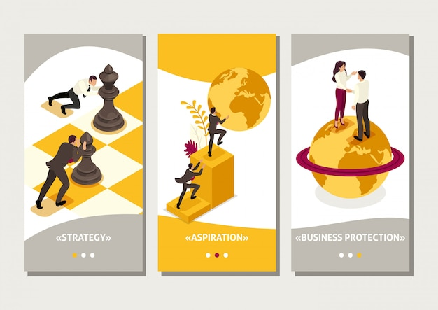 Isometric template app world business domination, big business agreement, smartphone apps
