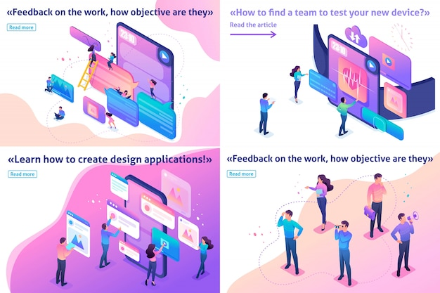 Isometric template article bright concept testing device, feedback, ux design, join our team