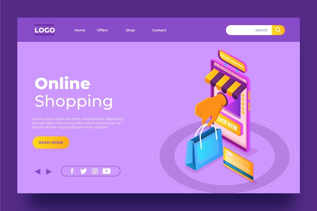 Isometric template shopping online landing page