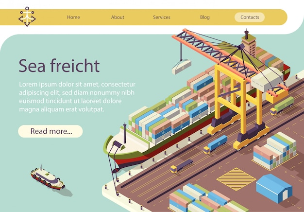 Isometric text banner representing sea freight