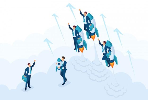 等尺性リーダーシップ、若い成功したビジネスマンの競争のためのコンセプトレース。 webデザインのコンセプト