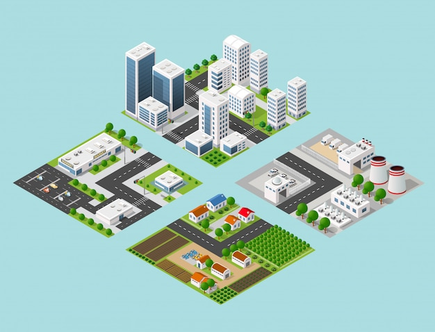 Isometric three-dimensional 3d city