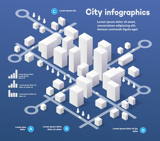 Isometric three-dimensional infographics