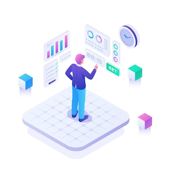 Isometric time management concept illustrated