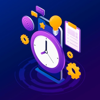 Isometric time management concept