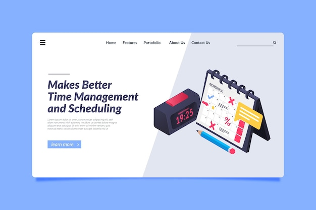 Isometric time management landing page
