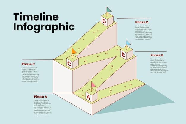 等尺性タイムラインインフォグラフィックテンプレート