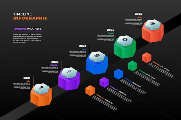 Шаблон инфографики изометрической шкалы времени