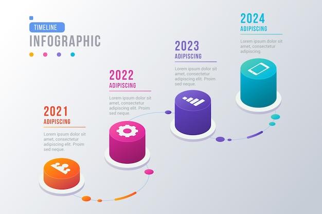 Изометрические временная шкала инфографики