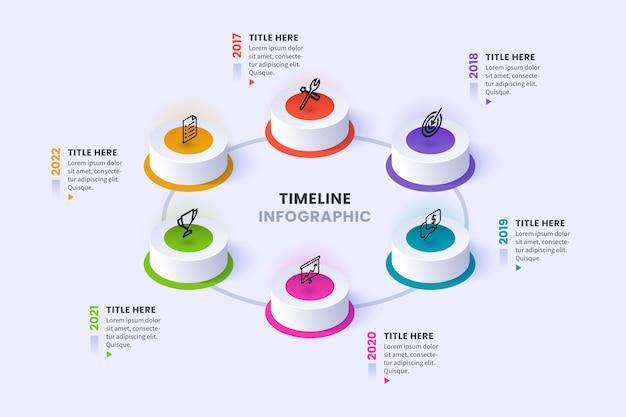 Изометрические временная шкала инфографики Бесплатные векторы