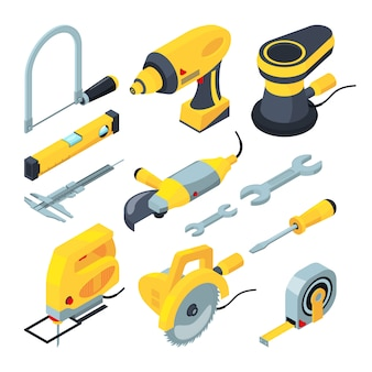 Isometric tools for construction.