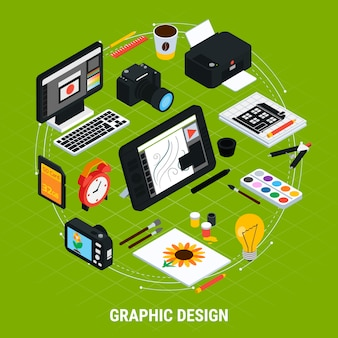 Isometric tools for graphic design with computer tablet paints camera printer 3d vector illustration