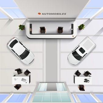 Isometric top view office interior of automobile salon with cars and tables for employees and client
