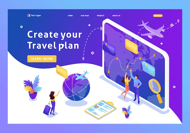 Isometric tourists look at the globe and choose the direction to relax. website template landing page
