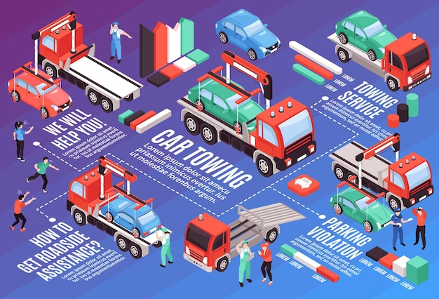 Isometric tow truck horizontal composition with editable text colourful graphs of vehicles with people