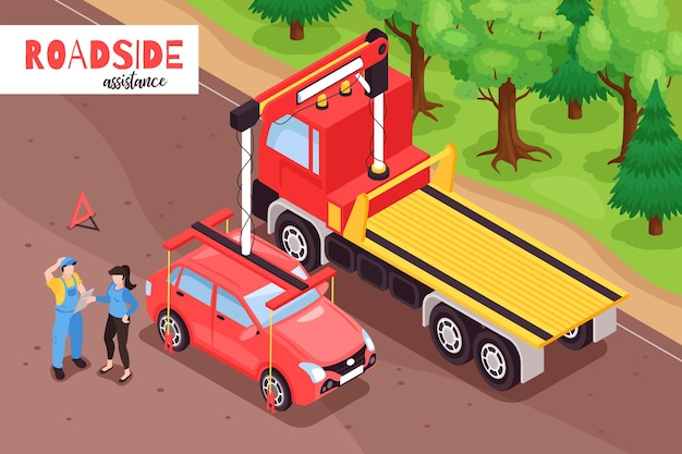 Isometric tow truck illustration with outdoor scenery of car being loaded on lorry vehicle with text