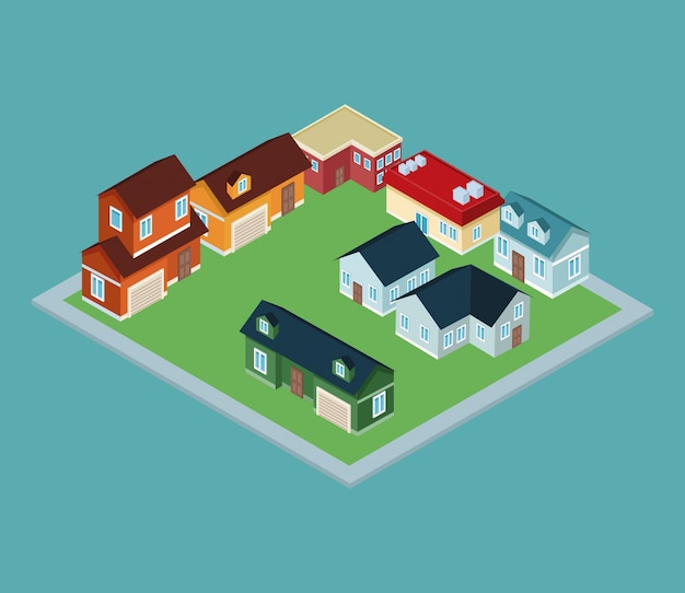 Isometric town 3d