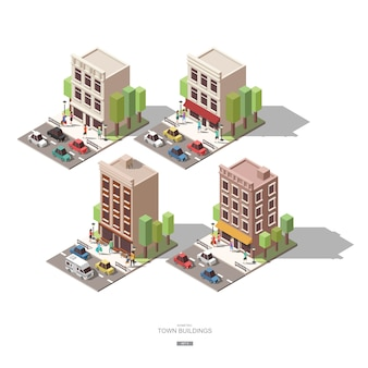 Isometric town buildings