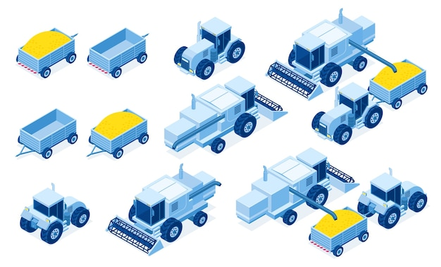 Isometric tractor machinery for grain and hay harvest, industrial and agricultural vehicles for farming works