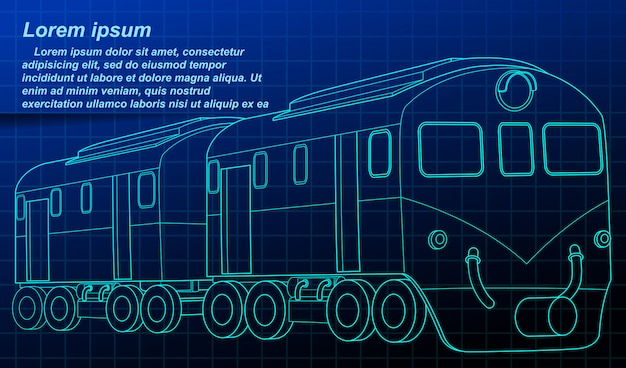 Isometric train blueprint in technology style.