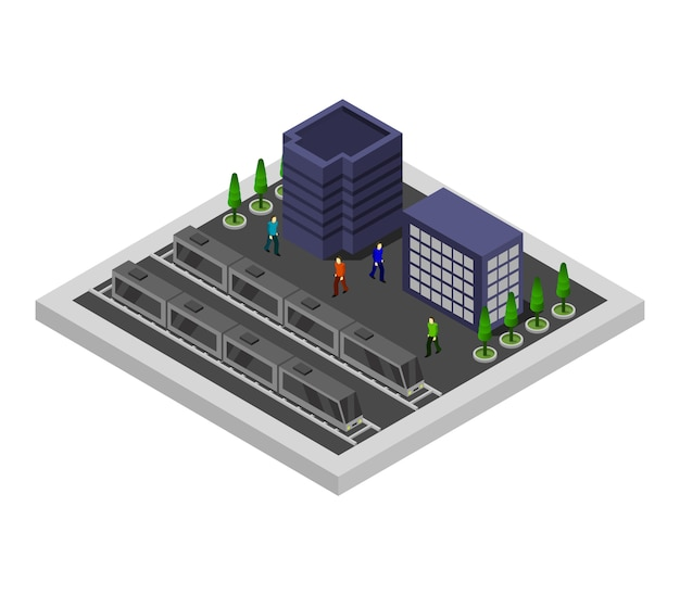 Isometric train station