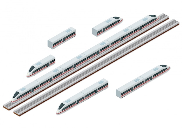 Isometric train tracks and modern high speed train